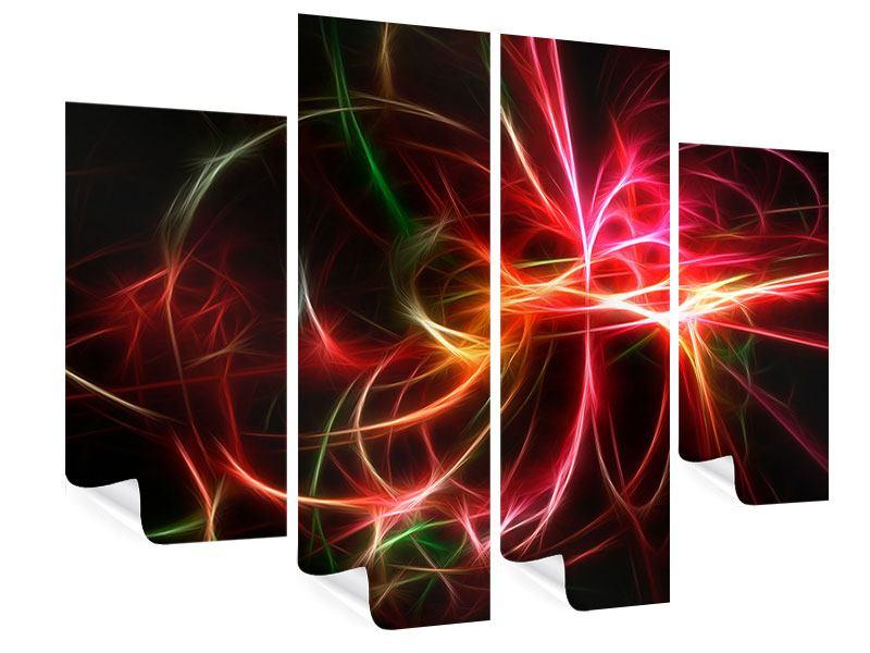 Poster 4-teilig Fraktales Lichtspektakel