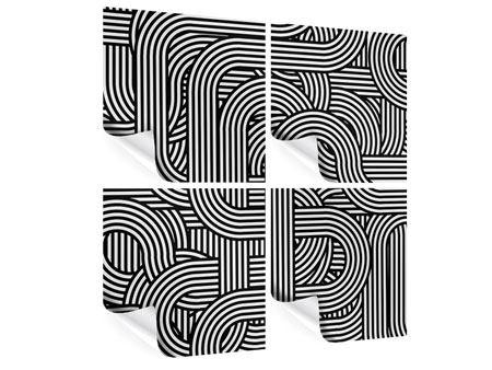 Poster 4-teilig 3D Black & White