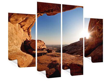Poster 4-teilig Sonnenuntergang vor der Höhle