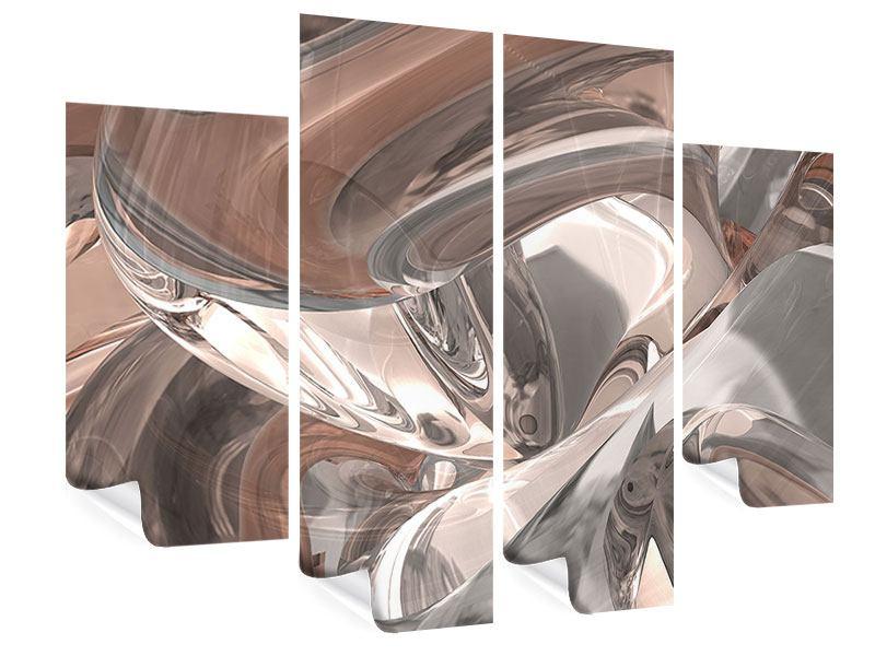 Poster 4-teilig Abstraktes Glasfliessen