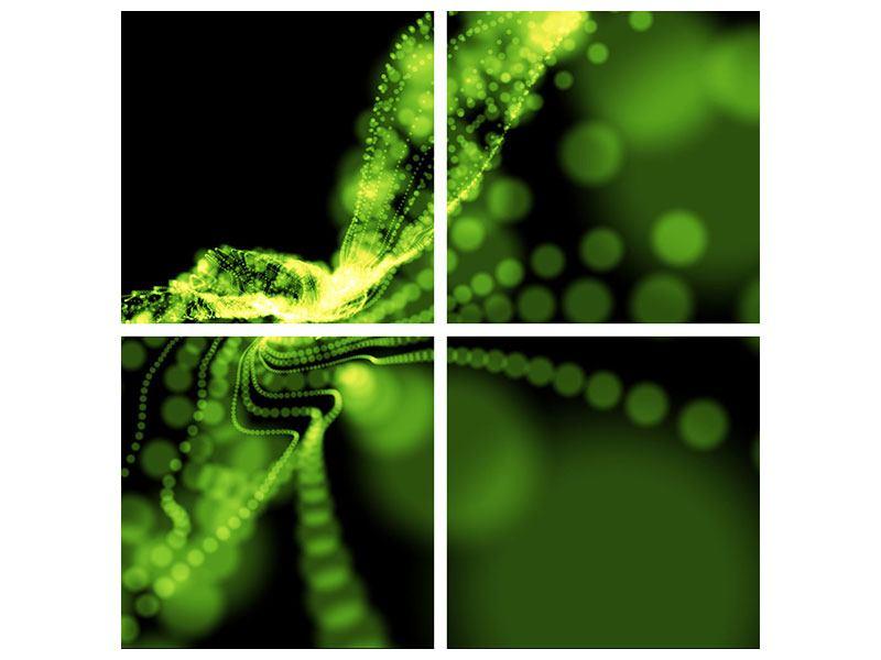 Poster 4-teilig Grünes Lichterspiel