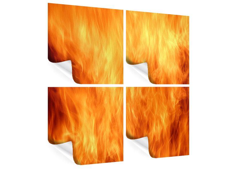 Poster 4-teilig Flammen