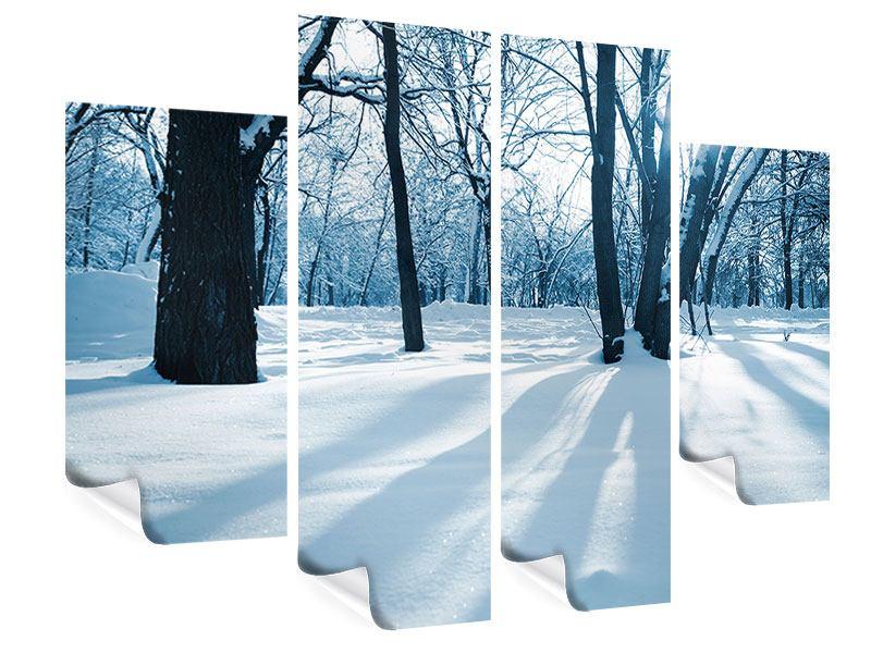 Poster 4-teilig Der Wald ohne Spuren im Schnee