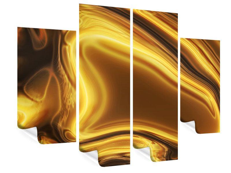 Poster 4-teilig Abstrakt Flüssiges Gold