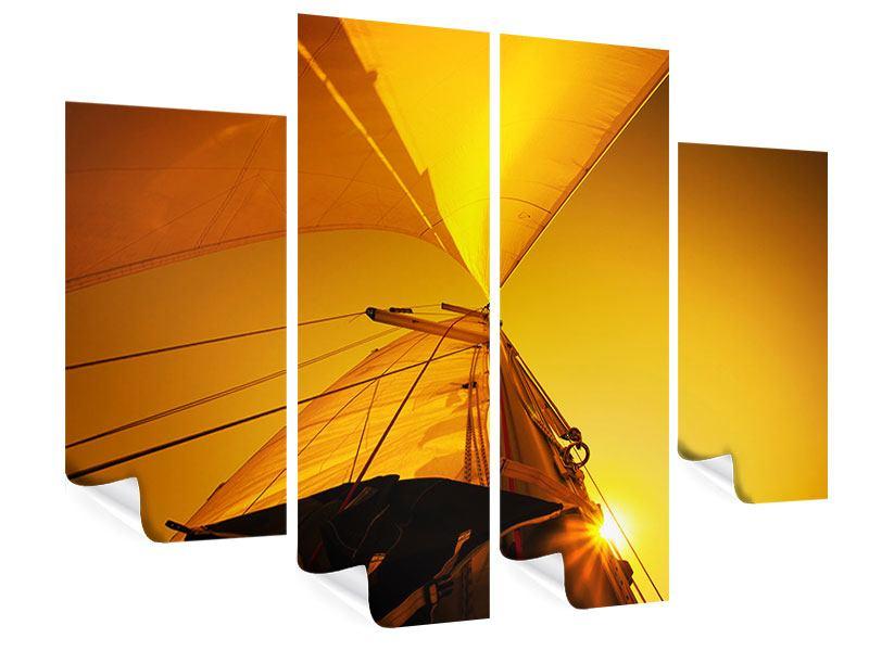 Poster 4-teilig Segelboot im Sonnenuntergang