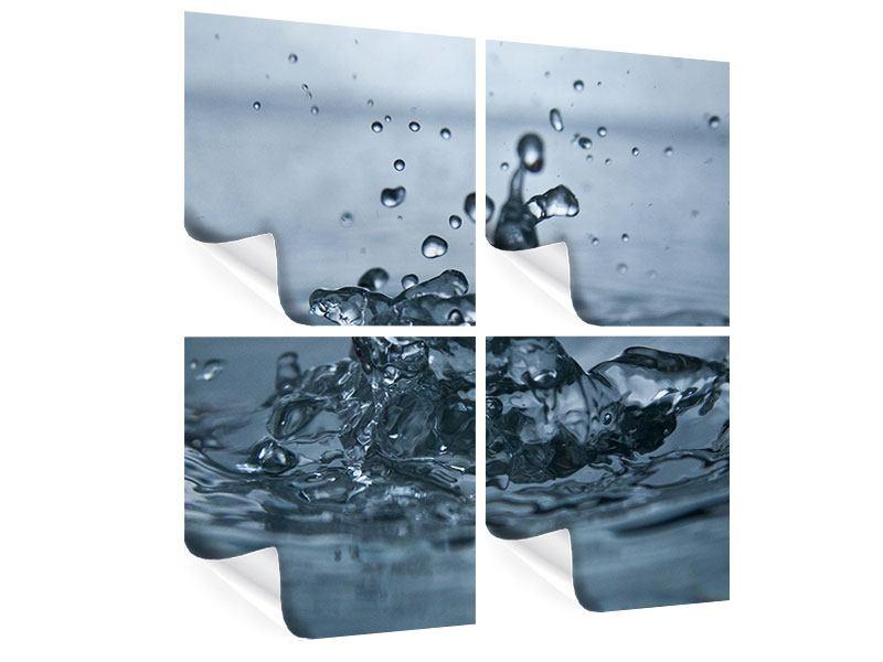 Poster 4-teilig Wassertropfen