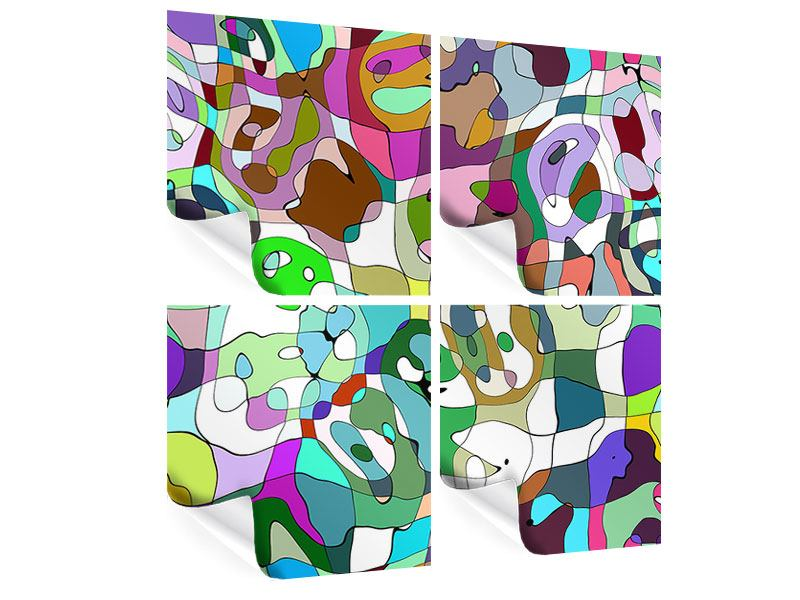 Poster 4-teilig Kubistisches Gemälde