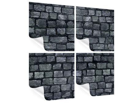 Poster 4-teilig Graue Steinmauer