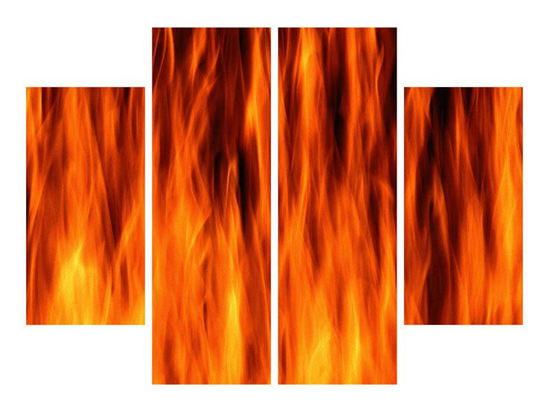 Poster 4-teilig Feuer Close Up