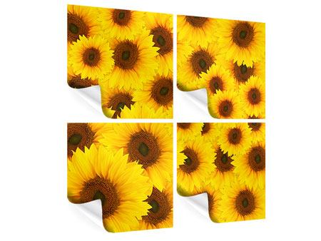 Poster 4-teilig Ein Strauss Sonnenblumen