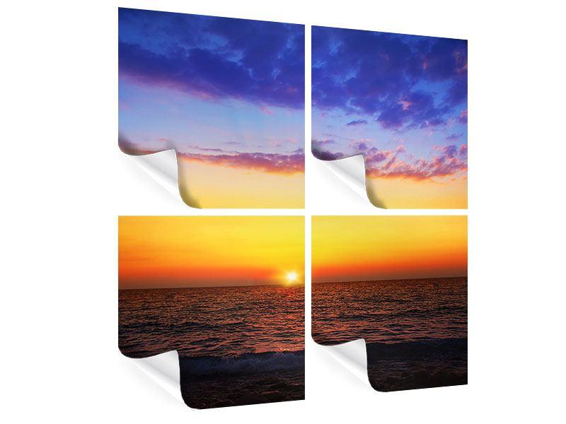 Poster 4-teilig Leuchtender Sonnenuntergang