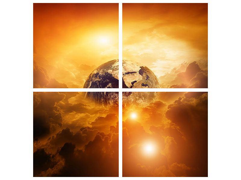 Poster 4-teilig Mystischer Planet Erde