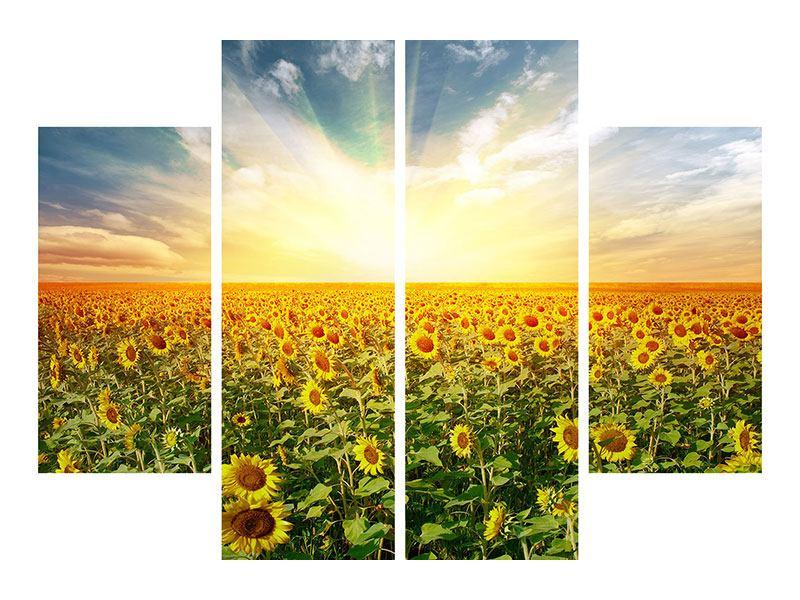 Poster 4-teilig Ein Feld voller Sonnenblumen