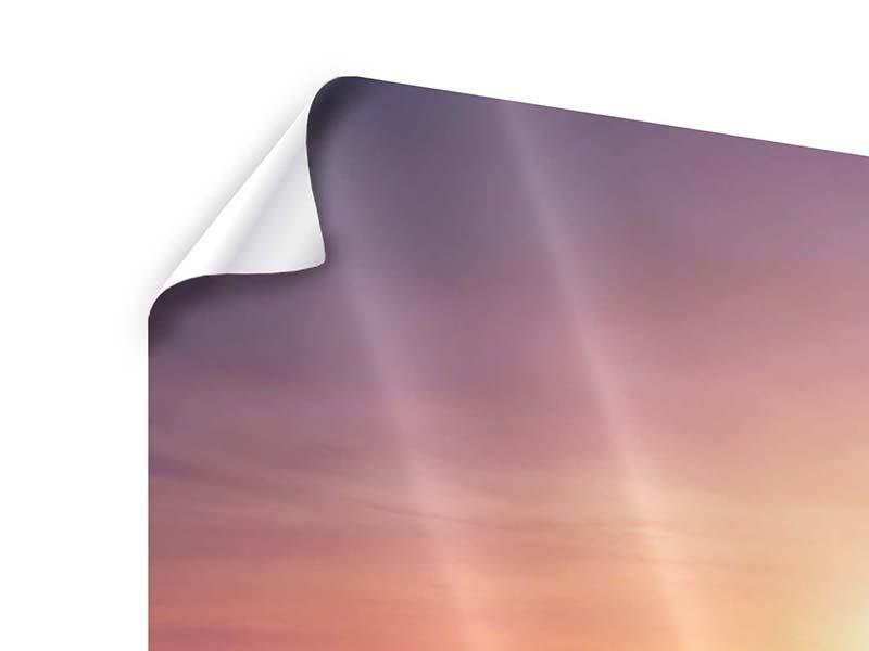 Poster 4-teilig Sonnenuntergang auf See