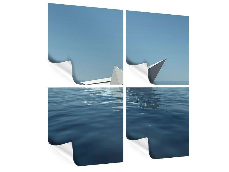 Poster 4-teilig Papierschiffchen