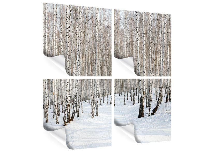 Poster 4-teilig Birkenwald-Spuren im Schnee