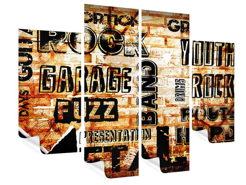 Poster 4-teilig Rock im Grungestil