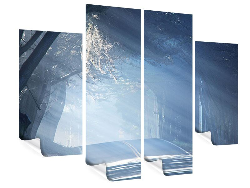Poster 4-teilig Lichtdurchflutete Baumallee