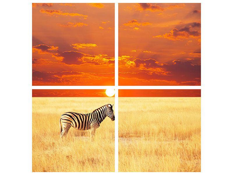 Poster 4-teilig Zebra im Seregenti-Nationalpark