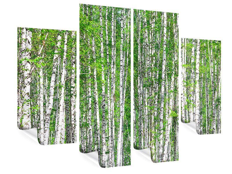 Poster 4-teilig Der Birkenwald