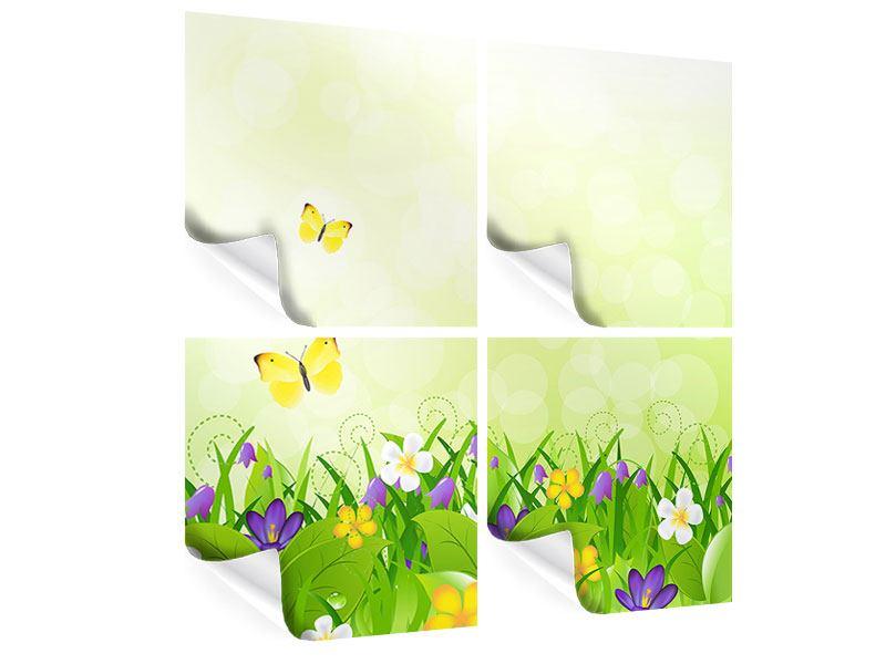 Poster 4-teilig Lustige Schmetterlinge