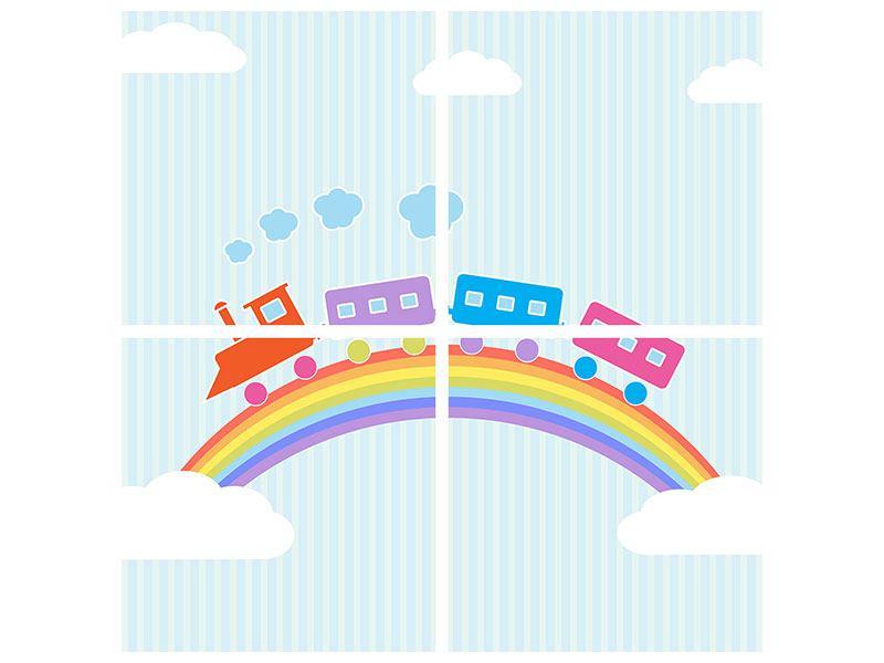 Poster 4-teilig Der Regenbogenzug