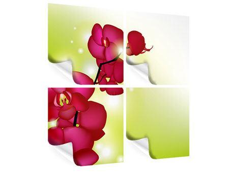 Poster 4-teilig Heiligtum der Orchidee