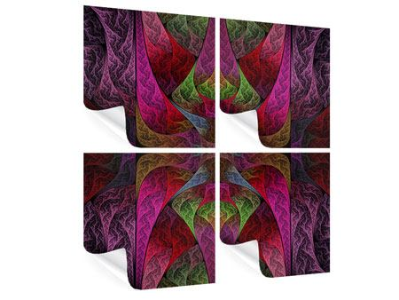 Poster 4-teilig Fraktales Muster