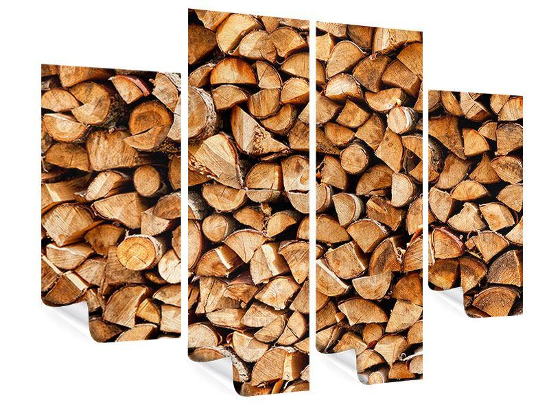 Poster 4-teilig Gestapeltes Holz