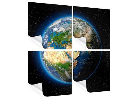 Poster 4-teilig Die Erde als Planet