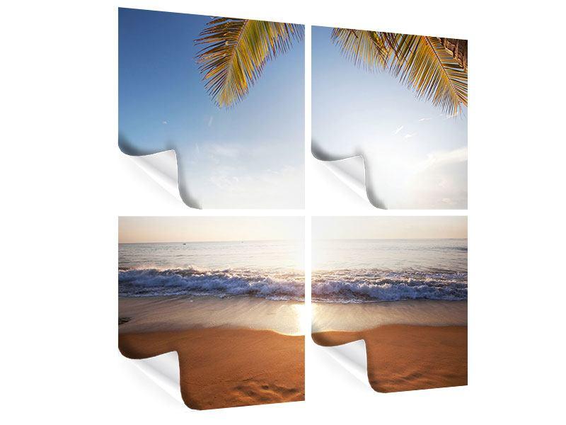 Poster 4-teilig Figuren im Sand