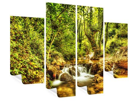 4 Piece Poster Waterfall In The Forest