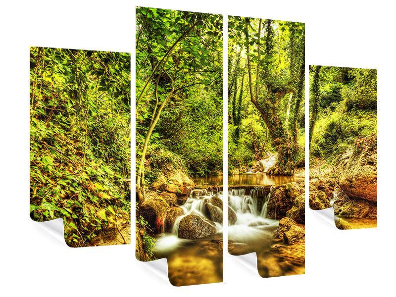 Poster 4-teilig Wasserfall im Wald