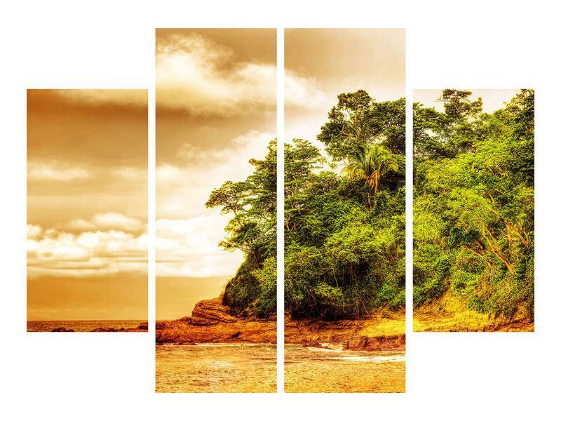 Poster 4-teilig Sonnenuntergang am Ende des Waldes