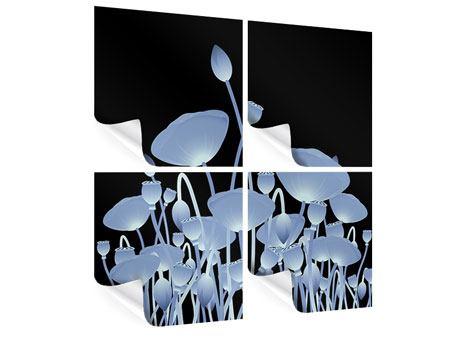 Poster 4-teilig Futurische Blumen