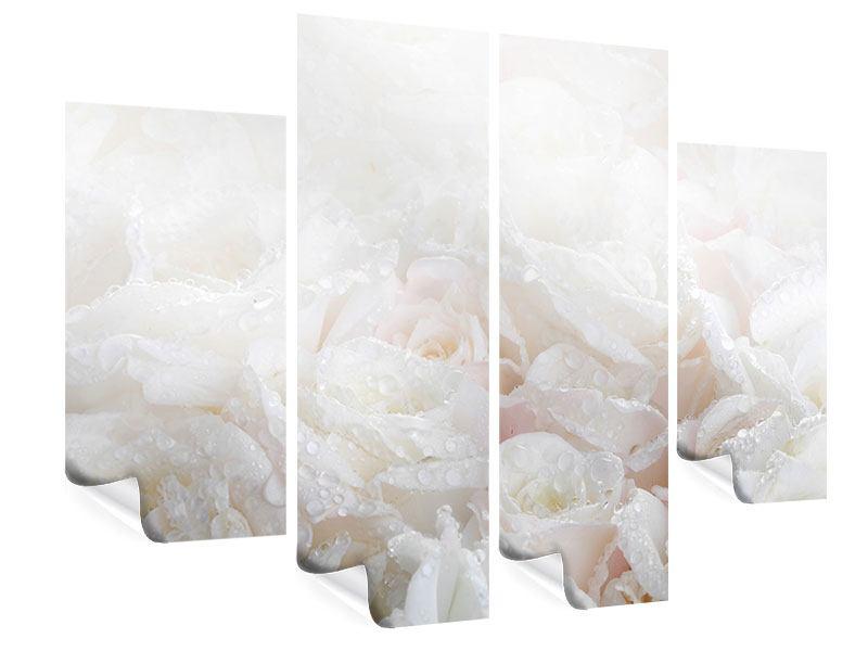 Poster 4-teilig Weisse Rosen im Morgentau