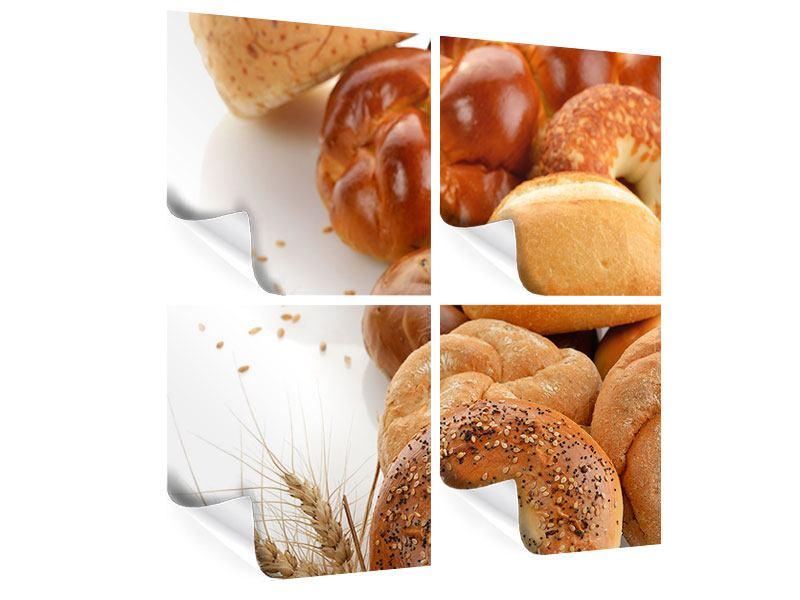 Poster 4-teilig Frühstücksbrötchen
