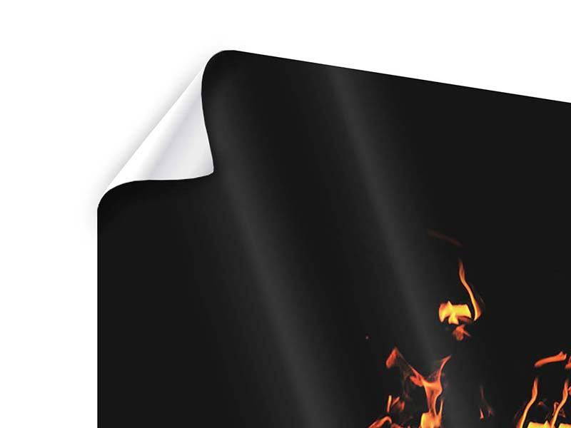 Poster 4-teilig Moderne Feuerwand