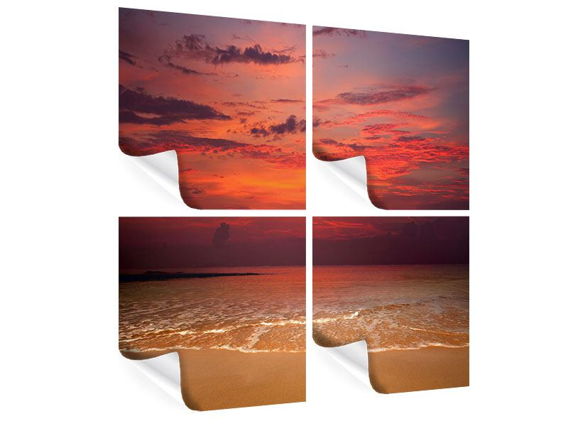 Poster 4-teilig Zeile auf den Sand