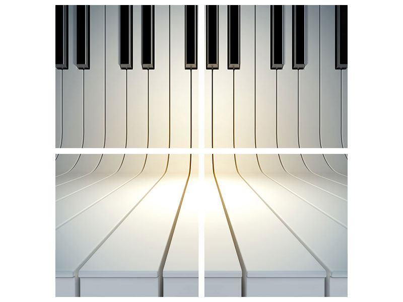 Poster 4-teilig Klaviertasten