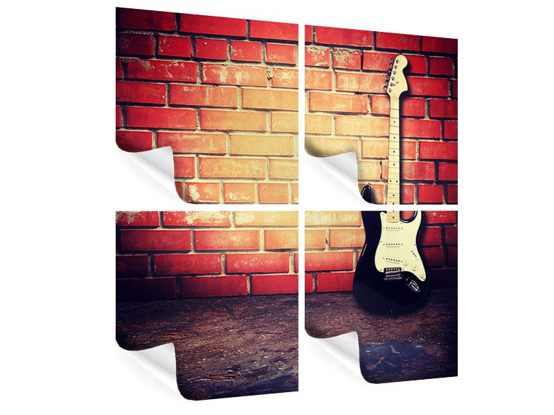 4 Piece Poster Electric Guitar