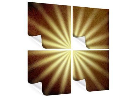 Poster 4-teilig Abstrakte Sonnenstrahlen