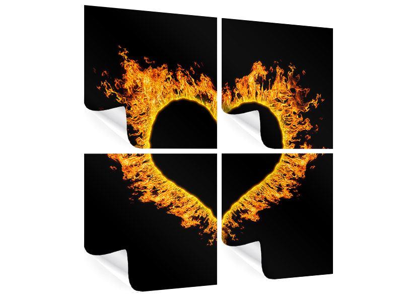 Poster 4-teilig Herzflamme