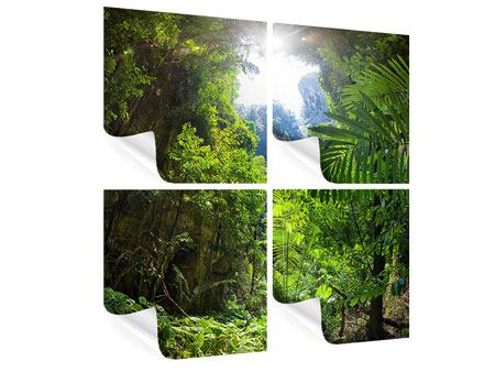 Poster 4-teilig Lichtung im Dschungel