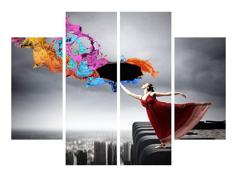 Poster 4-teilig Tanz auf dem Wolkenkratzer