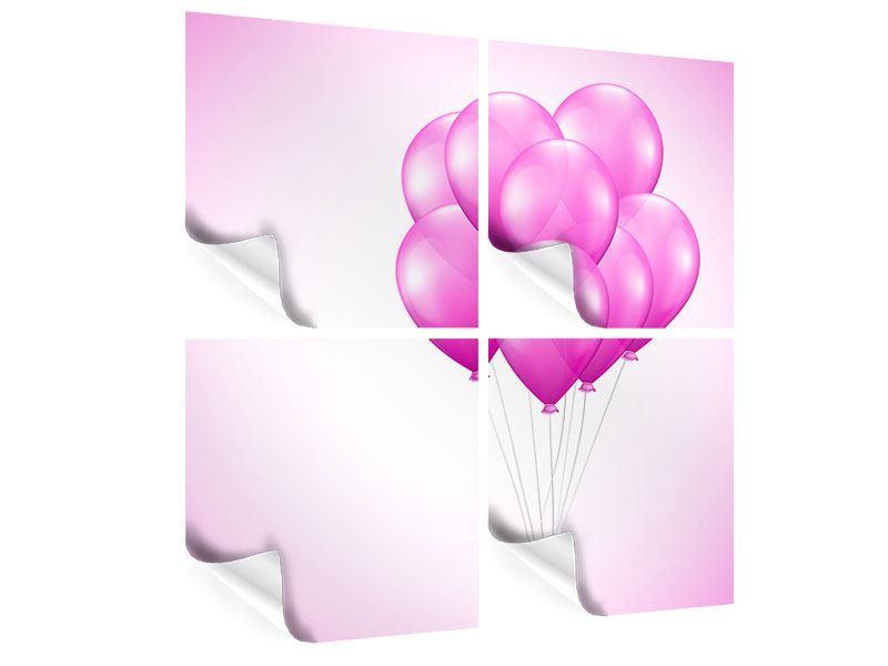 Poster 4-teilig Rosarote Luftballons