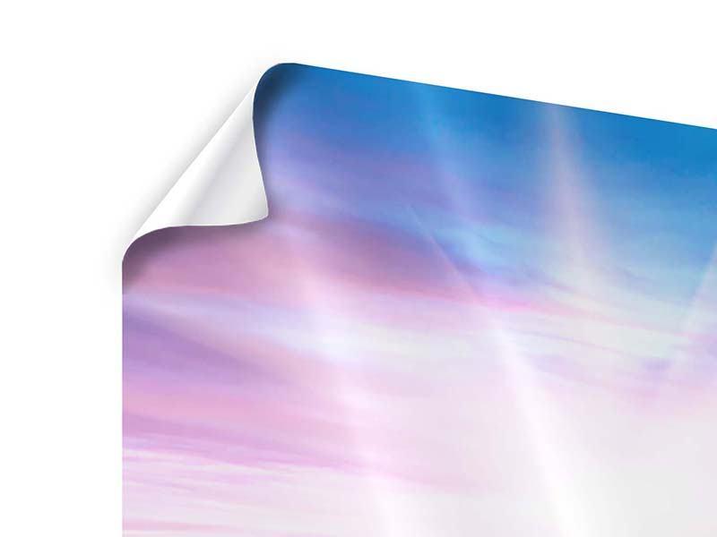 Poster 4-teilig Eine Sommerlandschaft bei Sonnenaufgang