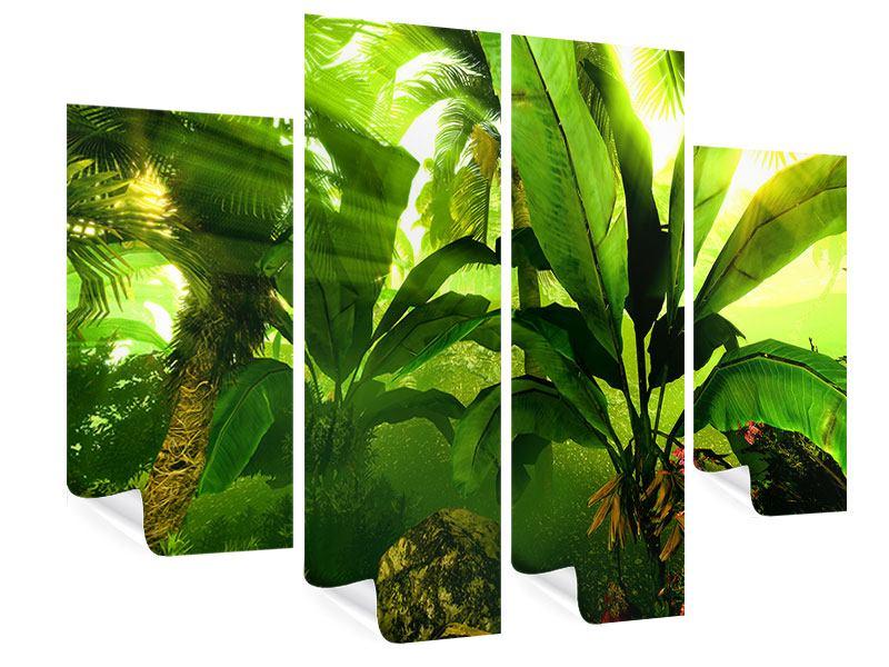Poster 4-teilig Sonnenaufgang im Regenwald
