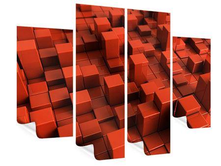 Poster 4-teilig 3D-Rechtkant