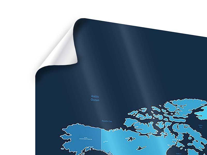 Poster 4-teilig Weltkarte